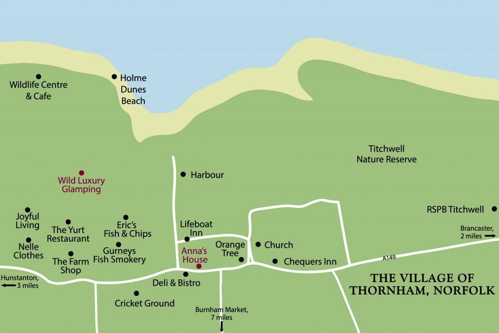 Map showing Thornham Holme Beach on the Norfolk Coast
